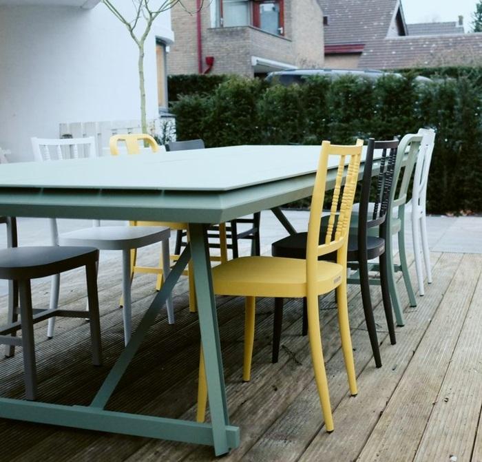 gartenmöbel set alu farbige außenmöbel esstisch mit stühlen resized
