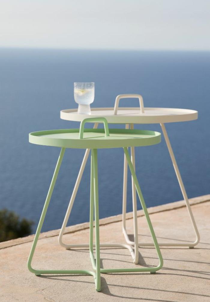 gartenmöbel set alu farbige beistelltische grün und weiß resized