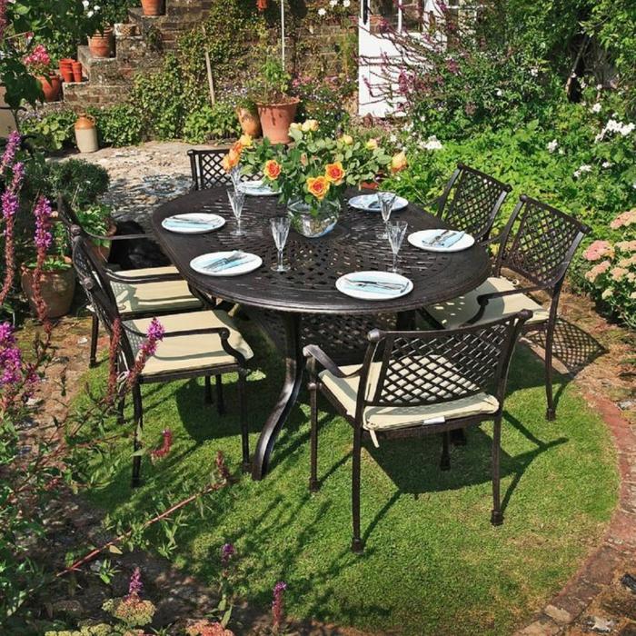 gartenmöbel set alu tisch mit stühlen landhausstil esstisch für 6 personen resized
