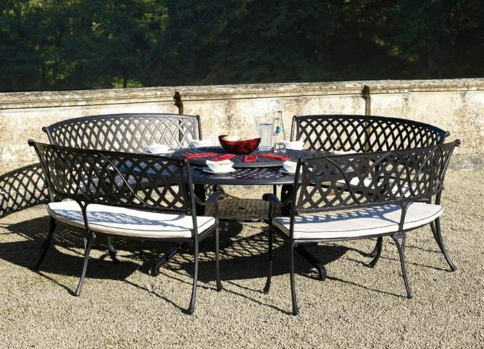 gartenmöbel set alu tisch rund mit glasscheibe stühlen modern resized