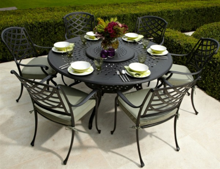 gartenmöbel set alu tisch rund mit stühlen mit auflage resized