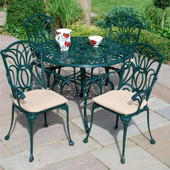 gartenmöbel set alu tisch rund mit stühlen mit kissen grün resized