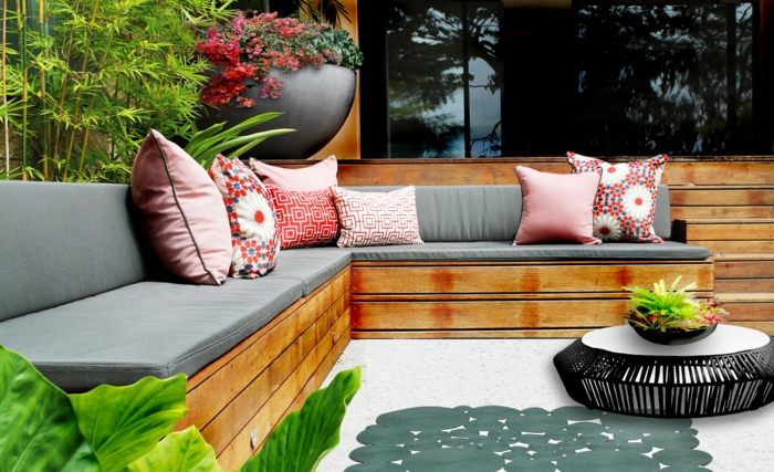 gartenmöbel set sitzbank couchtisch dekokissen stoffe pflegen