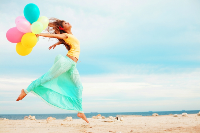 glückliches leben positiv sein frau meer