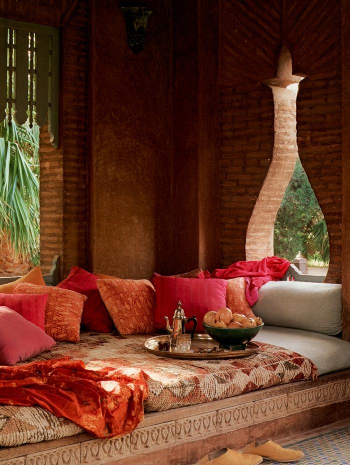 hauseinrichtung marokkanische dekokissen rot orange sofa
