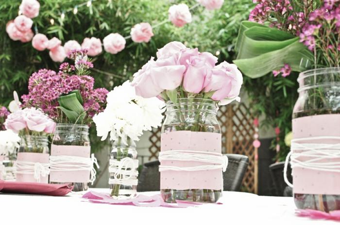 hochzeitsdeko tendenzen rosa rosen natürlich
