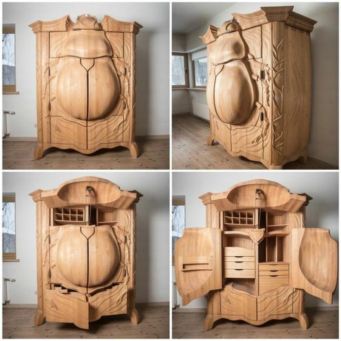 Der Käfer-Kleiderschrank - Holzschnitzerei und cooles Design