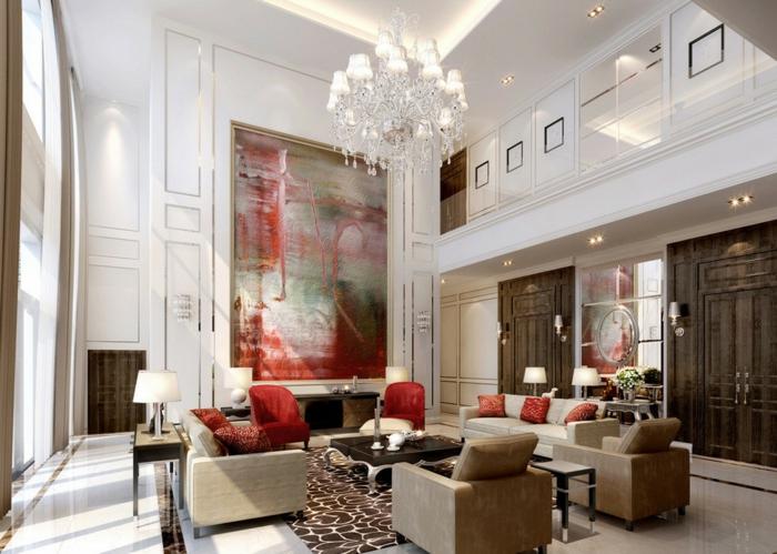inneneinrichtung ideen wohnzimmer akzente kronleuchter
