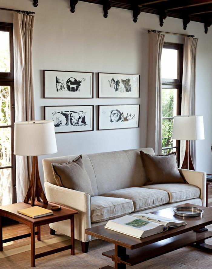 inneneinrichtung ideen wohnzimmer tischleuchten lange gardinen