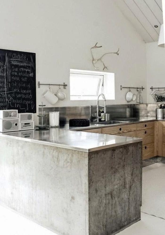 küche mit kochinsel aus beton küchengestaltung ideen