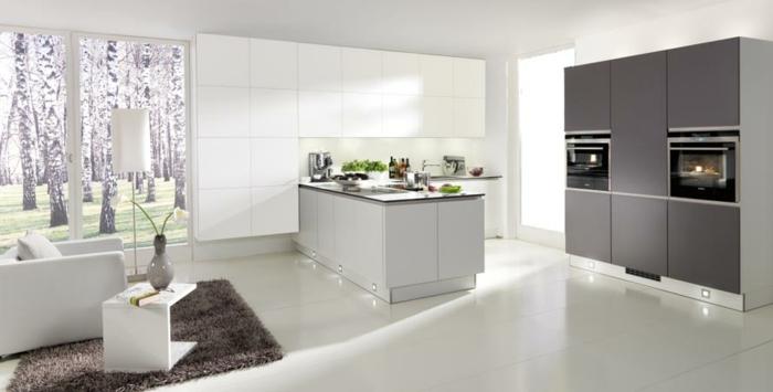 küchendesign ideen nolte küche weiß grau teppich