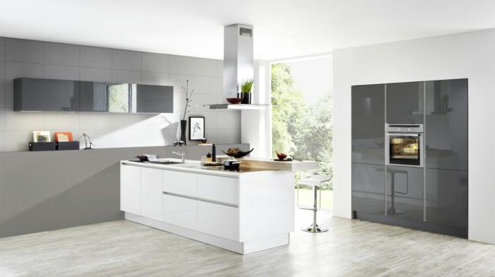 nolte küchen design weiße kücheninsel graue akzentwand