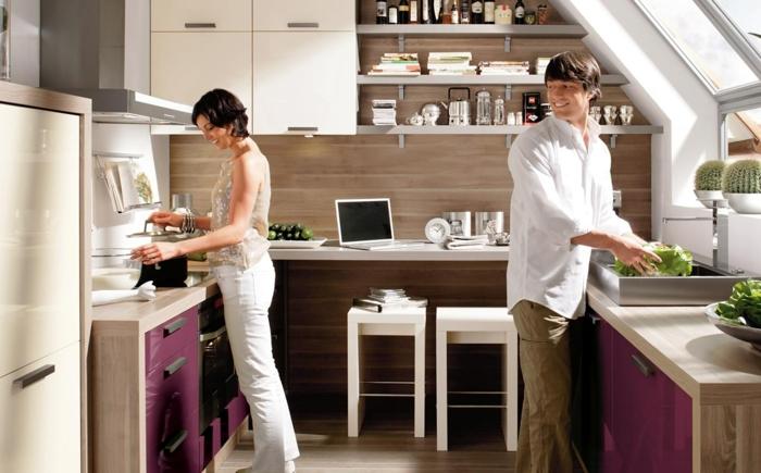 küchendesign nolte küche lila akzente weiße barhocker