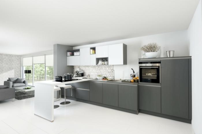 küchendesign nolte küche weiß grau
