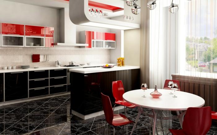 küchendesign rote küchenstühle runder esstisch schöne bodenfliesen