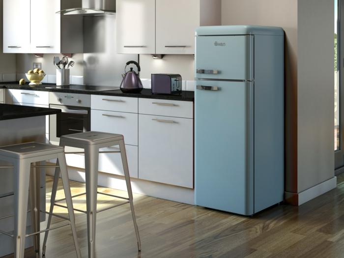 kücheneinrichtung retro kühldchrank hellblau küche einrichten