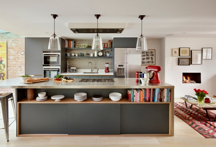 Küchengestaltung Ideen Küche Mit Kochinsel Küchenarbeitsplatte Beton
