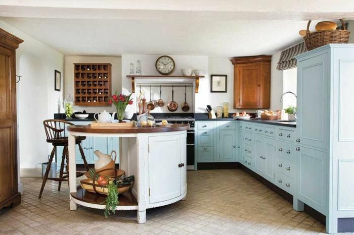 kücheninsel rund aufbewahrungsraum gemütliche küche kleie bodenfliesen
