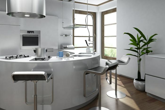 kücheninseln gebogene form weiß elegant pflanze leuchter