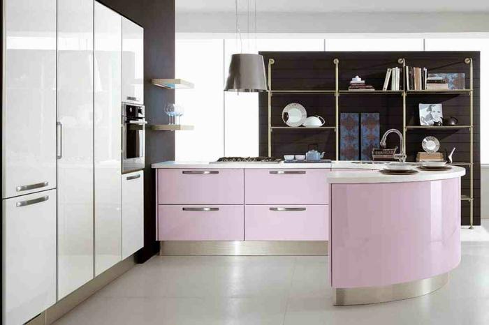 kücheninseln gebogene kücheninsel hellrosa design