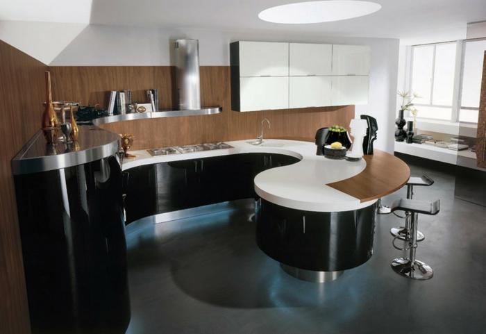 kücheninseln gewölbte kücheninsel schwarz weiße arbeitsoberfläche