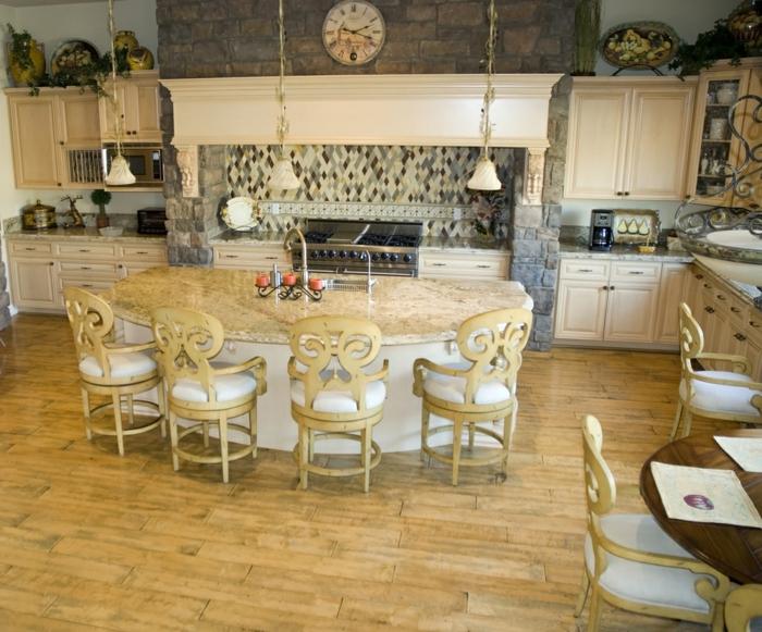 kücheninseln tolle stühle holzfliesen steinwand