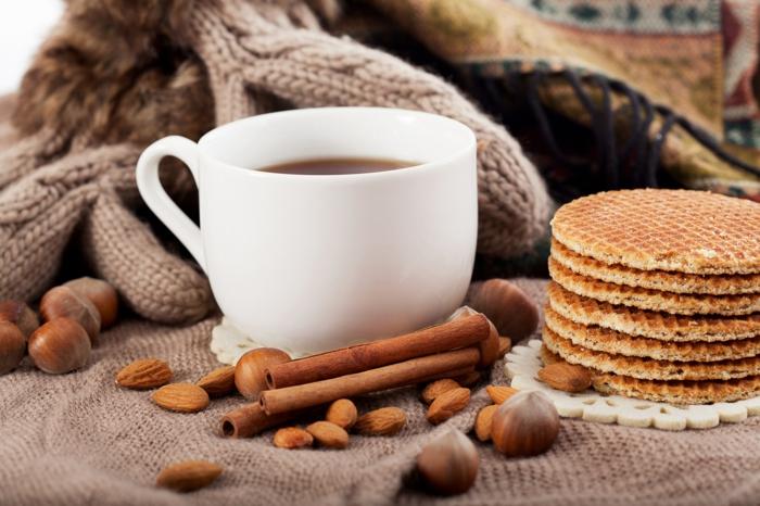 kaffee kalorien zimt bio waffel honig nüsse