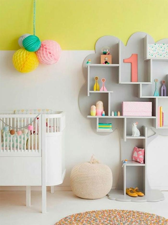 kinderzimmer wandfarbe babyzimmer gestalten wandgestaltung weiß gelb