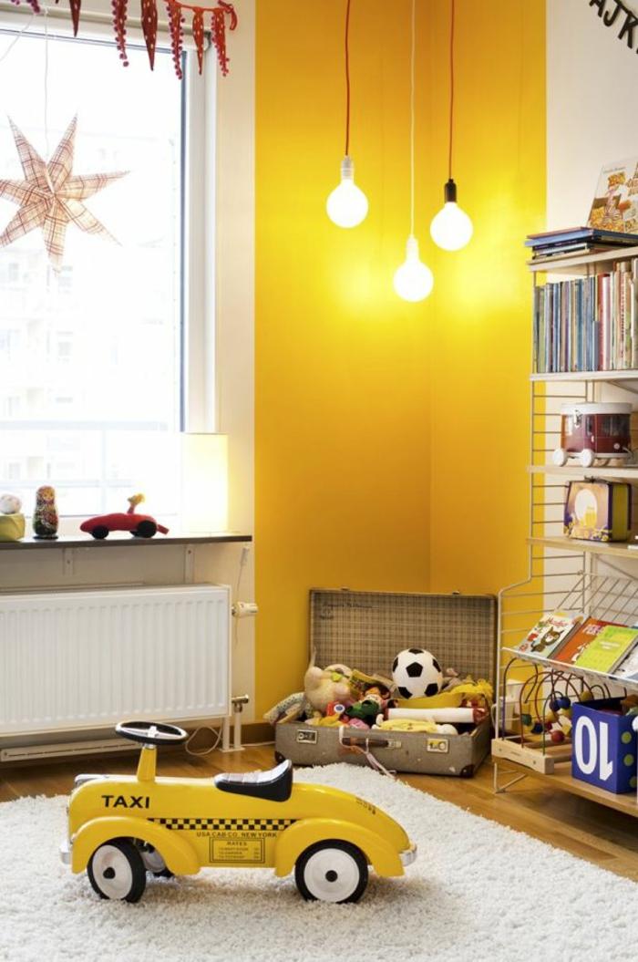 kinderzimmer wandfarbe kinderzimmer gestalten akzentwand gelb