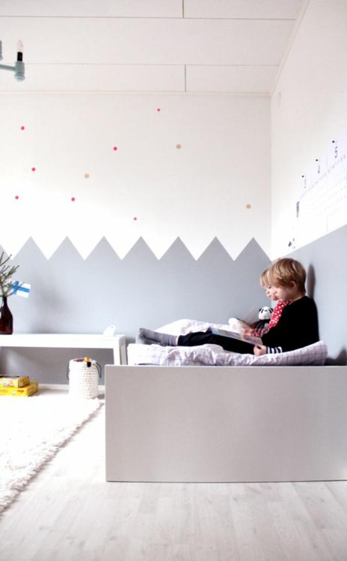 kinderzimmer wandfarbe kinderzimmer gestalten babybett wandgestaltung grau weiß