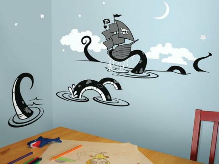 kinderzimmer wandtattoo piratenschif und oktopus