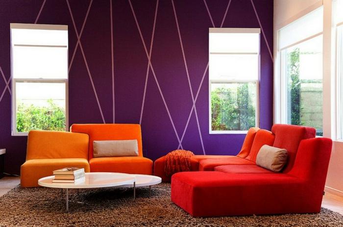 kleines wohnzimmer einrichten farbige möbelstücke frische wandgestaltung