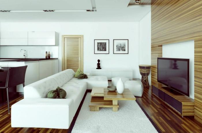 kleines wohnzimmer einrichten offener wohnplan weißes sofa