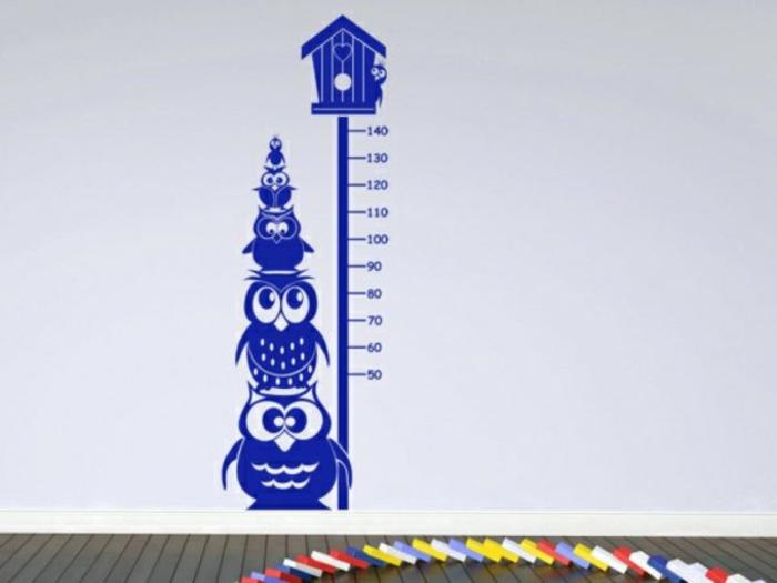 kreative wandgestaltung wandtattoo kinderzimmer messlatte eulen