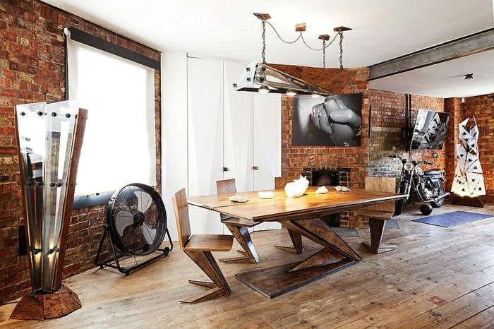 loft möbel ausgefallener tisch coole stühle ziegeln