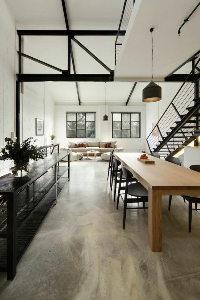 loft möbel industrieller look innentreppe pflanze