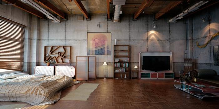 loft möbel industrielles schlafzimmer geräumig originell
