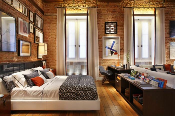 loft möbel schlafzimmer wohnzimmer holzboden ziegelwand