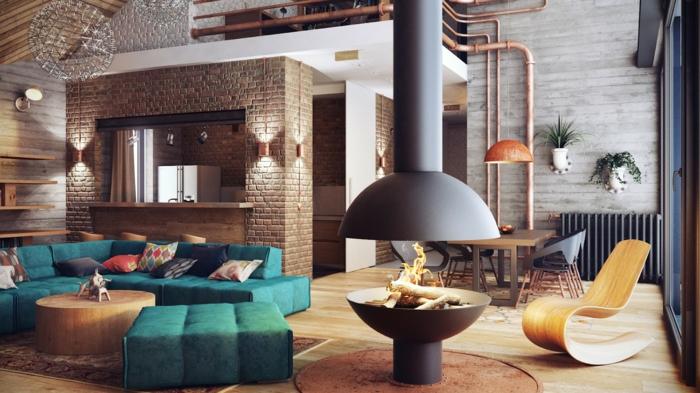 loft möbel wohnzimmer einrichtung feuerstelle cooler sessel