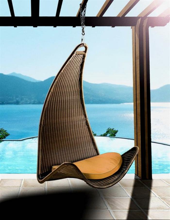 lounge sessel outdoor hängesitz rattan polster auflage