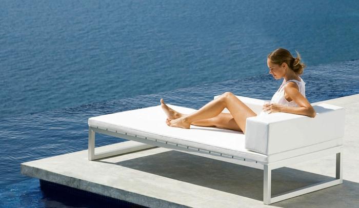 lounge sessel outdoor lederliege minimalistisch gerade linien