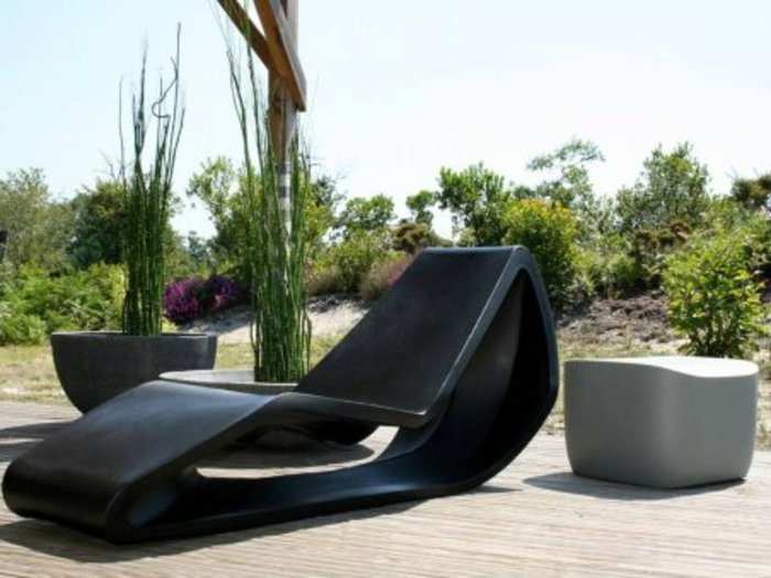 lounge sessel outdoor liege schwarz modernes design