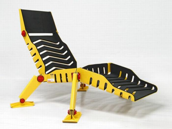 lounge sessel outdoor metallene liege schwarz gelb