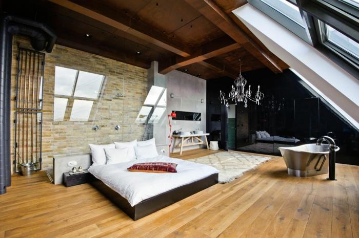möbel loft schlafzimmer gestalten freistehende badewanne schöner leuchter