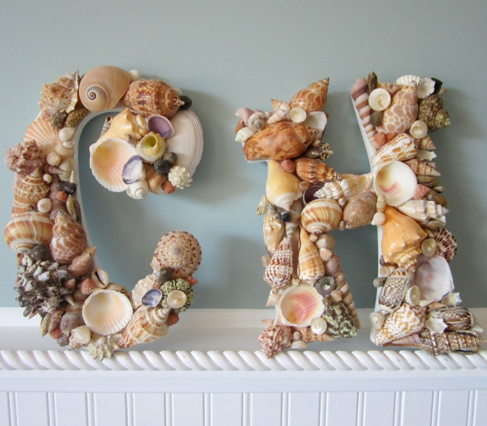 maritime deko buchstaben meeresfunde schnecken muscheln
