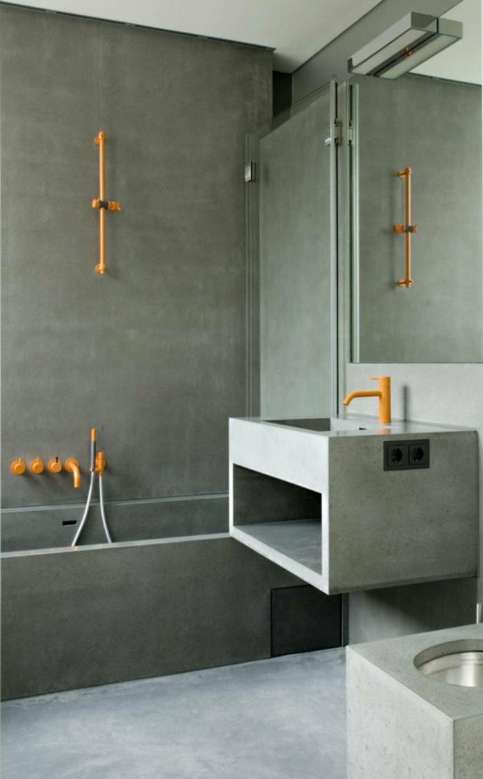 moderne badezimmerarmatur gelb badeinrichtung badewanne duscharmatur