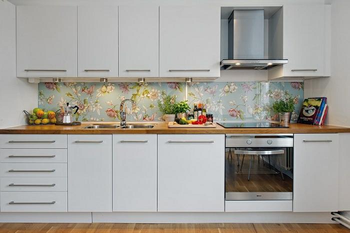 moderne inneneinrichtung küchenrückwand modern blumen motive