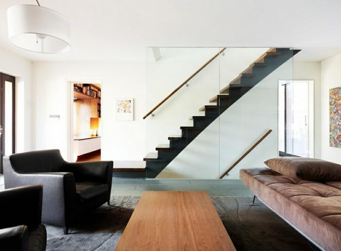 moderne inneneinrichtung treppenhaus gläserne wand
