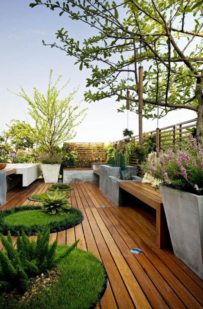 moderne terrassenbepflanzung möbel und balkonpflanzen