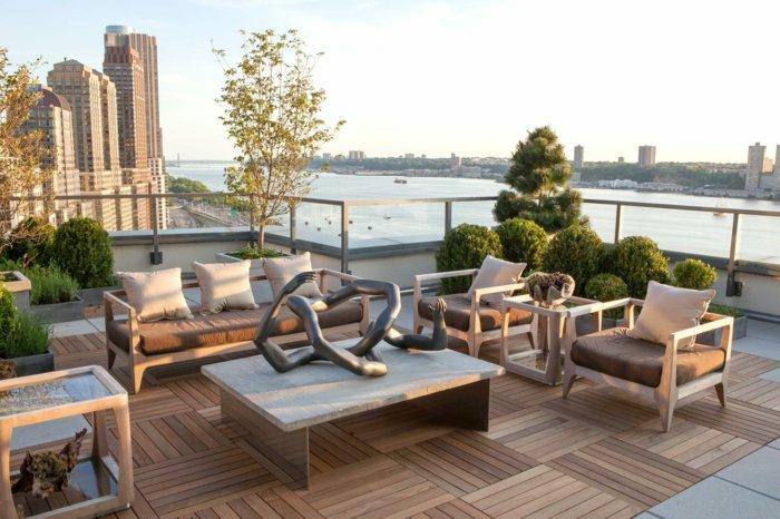 moderne terrassengestaltung ausgefallene deko elegante außenmöbel